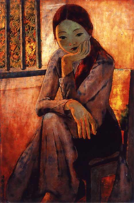 Photo フィン・ヴァン・ガム「リエン嬢」 1962年     少し物憂げに座る... ベトナ
